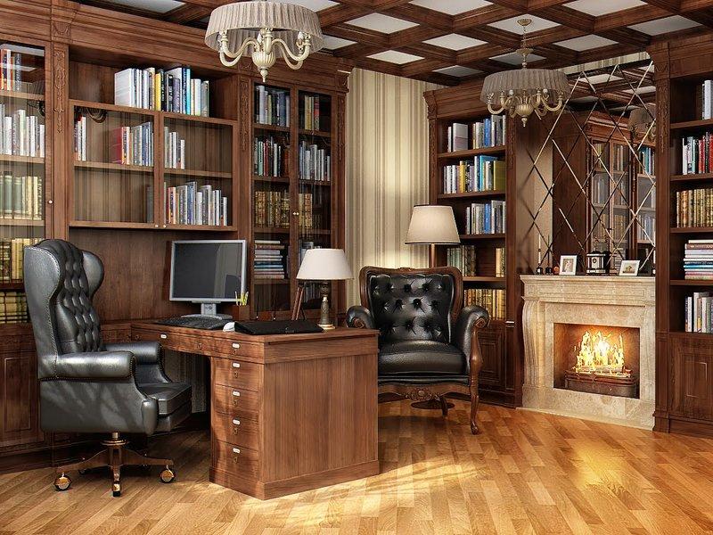 Идеи интерьера кабинета с дубовой мебели