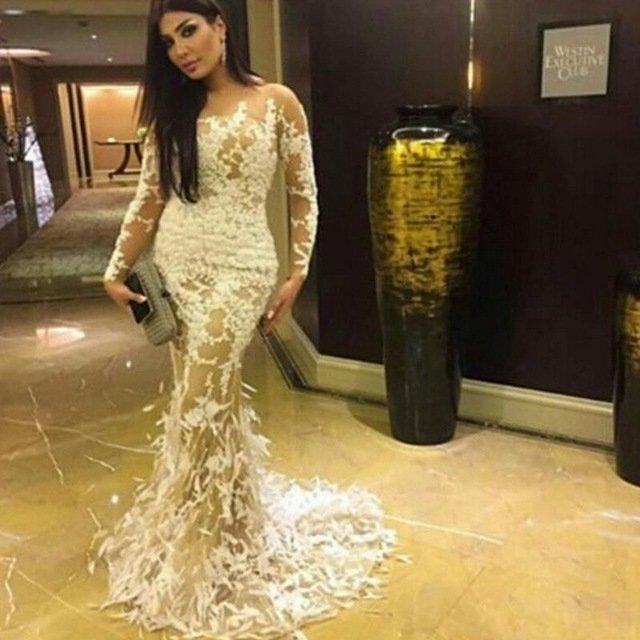 d76f59e092a858f ... Купить товар 2016 новое поступление белый камень длиной до пола  вечернее платье с длинными рукавами перья