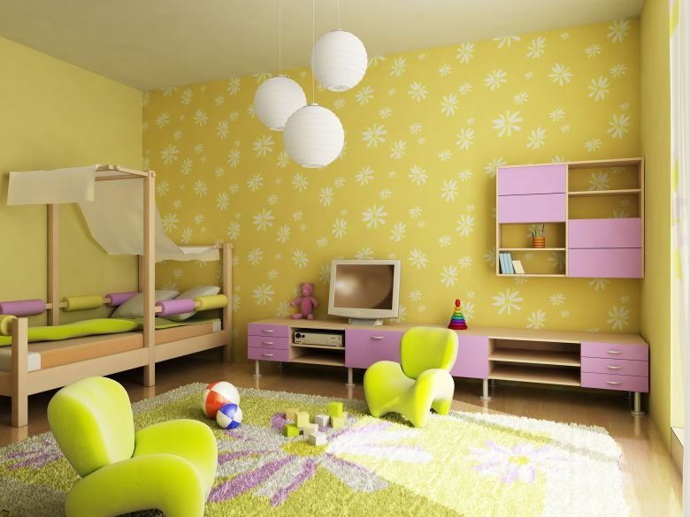 Дизайн жёлтой детской комнаты