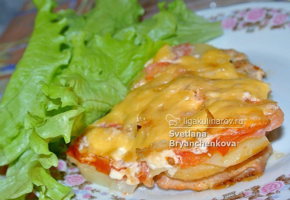 Индейка с картошкой под сыром