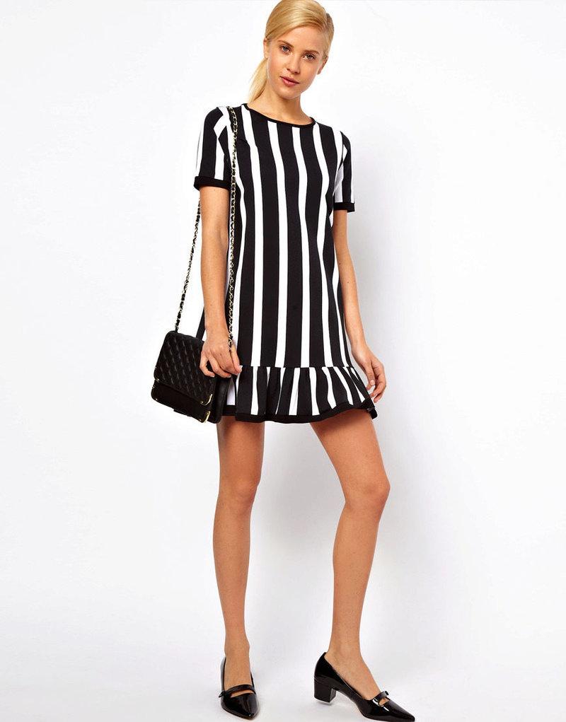 Платье черно белое полосатое платье