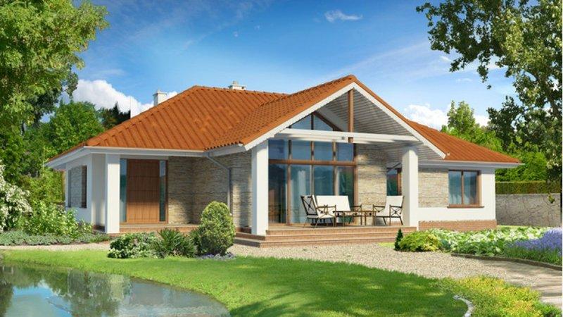 Крыша сделана с чркого покрытия, вход большой с большыми окнами.