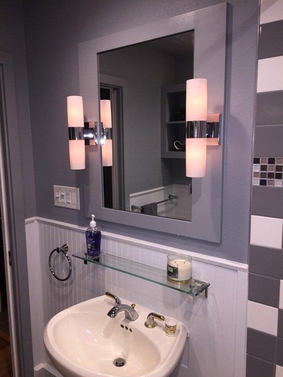Дизайн интерьера ванной | маленькие ванные бюджетной ценовой категории c полом из керамической плитки, серой плиткой и керамической плиткой фото