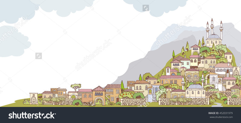 stock-vector-middle-east-traditional-facades-hand-drawn-sketchy-old-oriental-city-a-small-town-on-a-hill-452031979.jpg (1500×766)