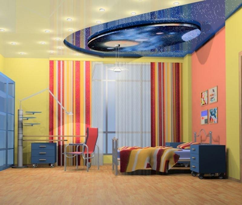 Потолок небо в детской комнате станет прекрасным дополнением интерьера для самого главного члена семьи.