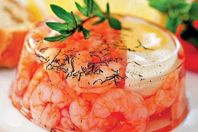 Заливное с морепродуктами.