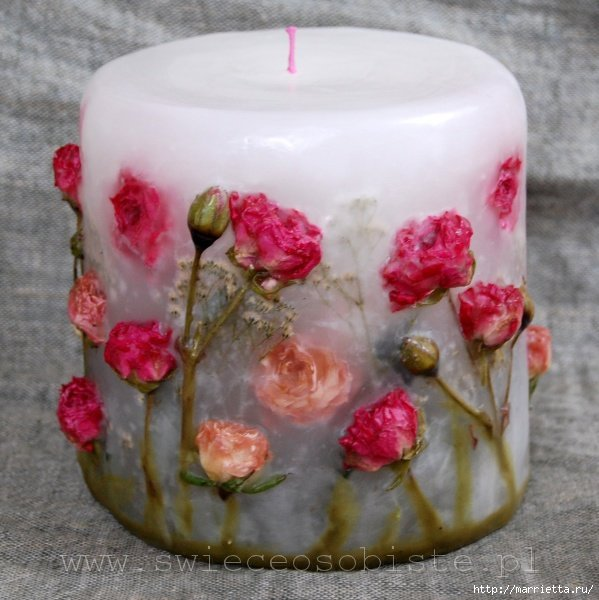 Свечи ручной работы из сухоцветов