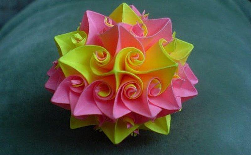 Кусудама супершар оригами Роза Курлеры Из Бумаги Декор Новогодний ... Кусудама супершар оригами Роза Курлеры Из Бумаги Декор Новогодний Шар Подарки Поделки своими руками