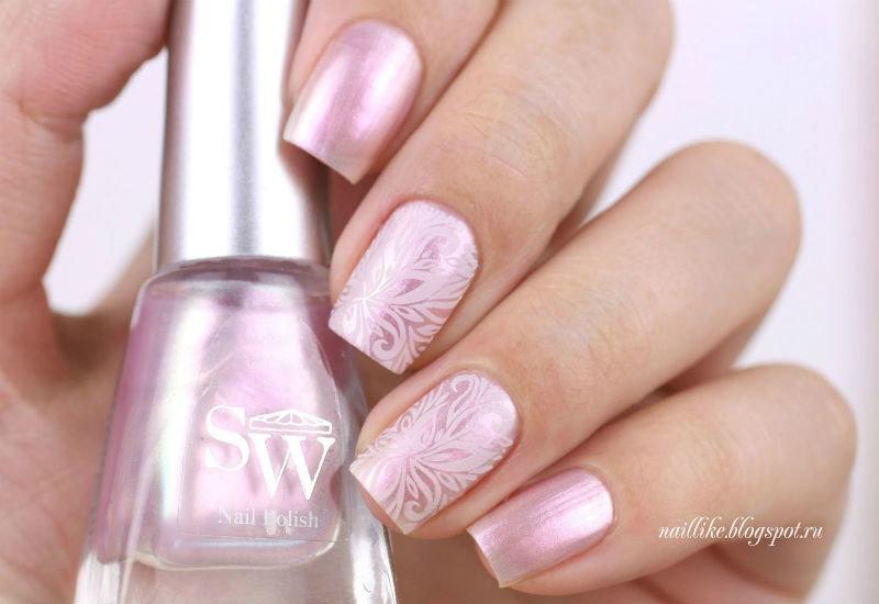 Шеллак нежно розовый дизайн