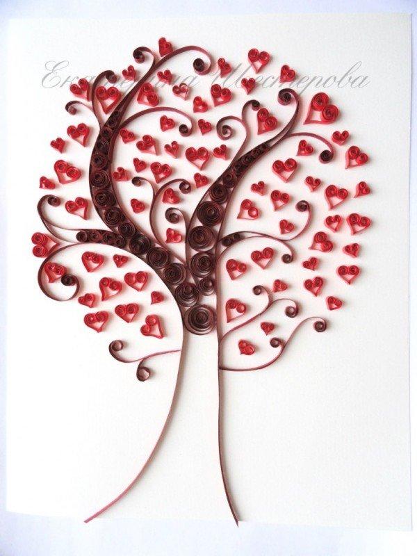 Открытка дерево с сердечками своими руками, картинках
