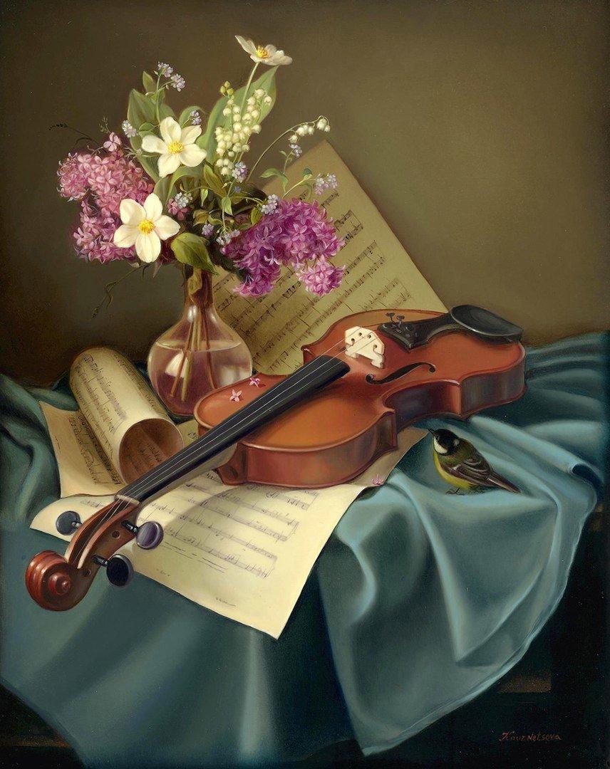 Картинка с музыкальными инструментами и цветами, создать скрапбукинг