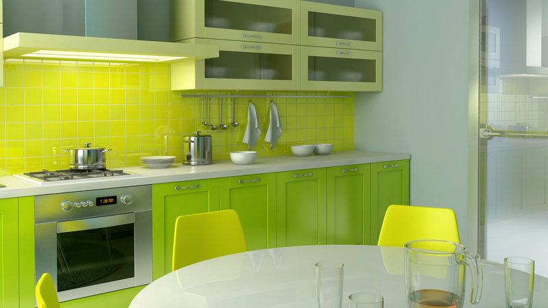 Дизайн салатово-жёлтой кухни фото