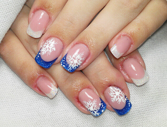 Зимние френчи на ногтях фото фотошкол