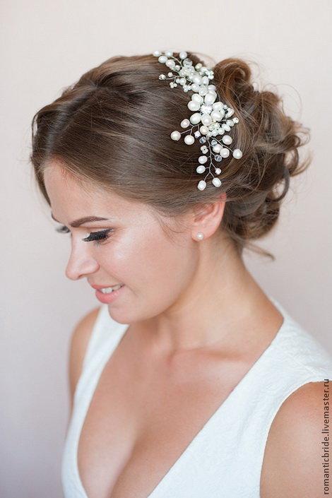 Украшение волос из бисера для невесты