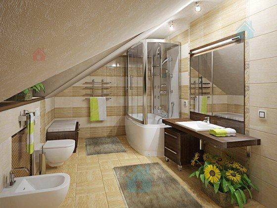 Дизайн интерьера ванной комнаты в мансарде