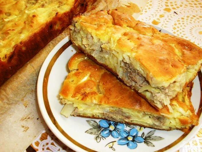 пирог с капустой и с фаршем на кефире рецепт
