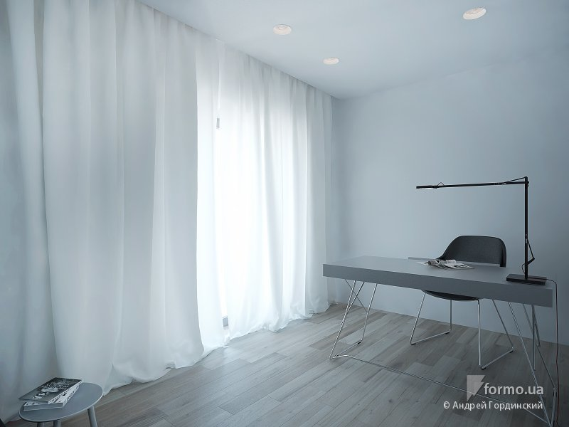 Интерьер домашнего кабинета - В стиле минимализм (светлые оттенки)