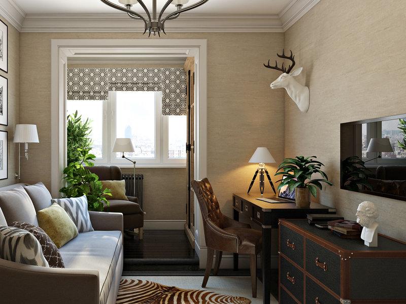 Уютный кабинет с удобным рабочим местом и зоной для отдыха – обстановка домашнего офиса, о которой можно только мечтать