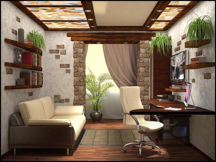 Кабинет в квартире с озеленением