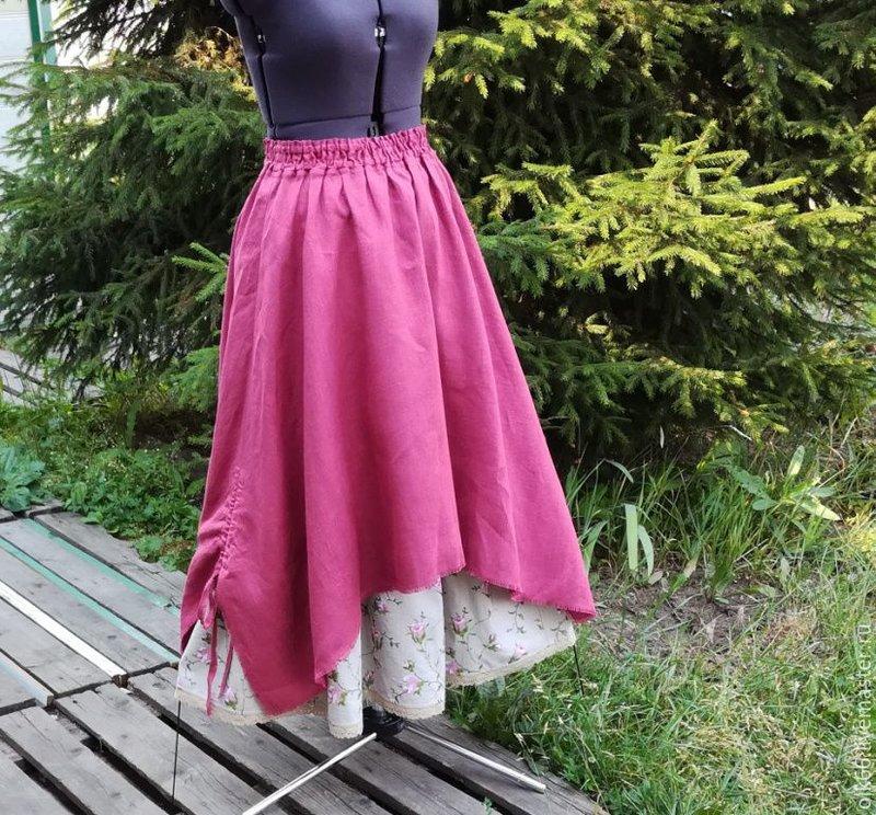 Длинная льняная двойная бохо юбка