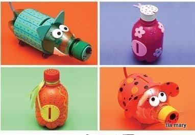 Поделки из пластиковых бутылок - Разные поделки из всякой всячины ... Копилки из пластиковых бутылок
