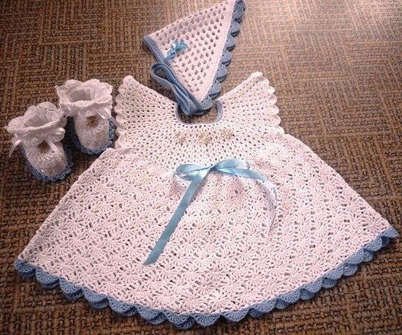Платье для крещения девочек крючком