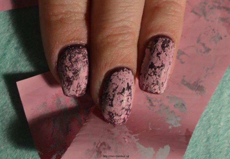 кракелюр на нарощенных ногтях фото