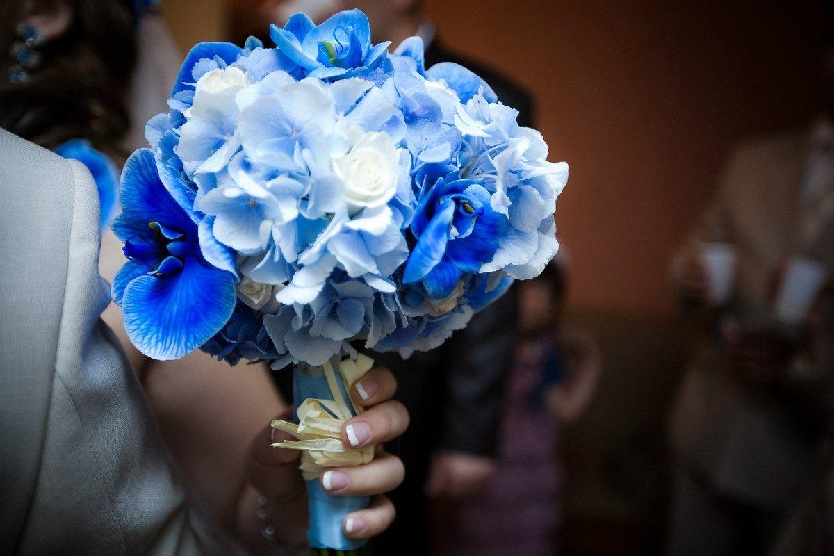 Пионов, свадебные букеты из синих или голубых цветов