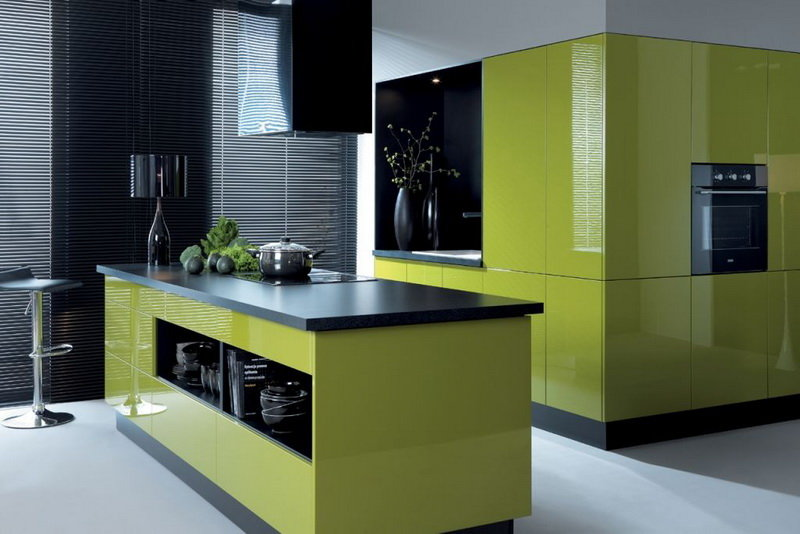 Green colour in the kitchen design