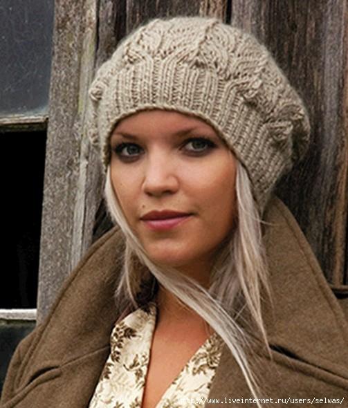 вязаная зимняя шапка спицами женская своими руками шапочка с