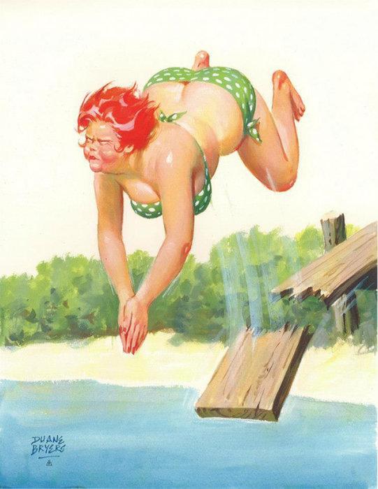 Художник Duane Bryers - Веселая Хильда Хильда никогда не сомневается в своей привлекательности.  Атипичная королева пин-апа: позитивная и рыжеволосая толстушка Хильда  Чувственная, немного неуклюжая, но при этом абсолютно не стесняющаяся своей фигуры – такая она, героиня иллюстраций в стиле пин-ап, созданных Duane Bryers. Хильда, именно так зовут пышную барышню с картинок, - одна из немногих атипичных пин-ап королев, которая украшала страницы американских календарей в середине прошлого века. Итак, знакомьтесь с очаровательной Хильдой.  Источник: http://www.kulturologia.ru/blogs/140316/28768/