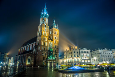 market square. krakow. poland night