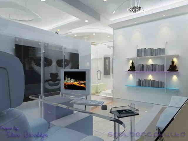 дизайн домашнего кабинета со стеклянными элементами
