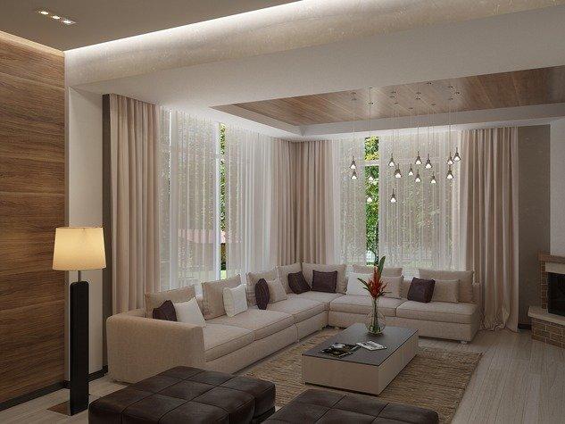 Дизайн гостиная с двумя окнами