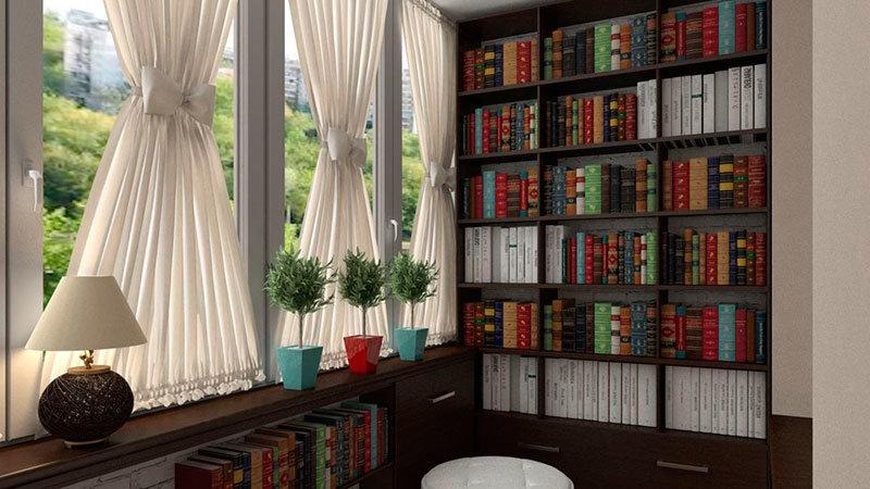 """Вместительная библиотека на современной лоджии"""" - карточка п."""