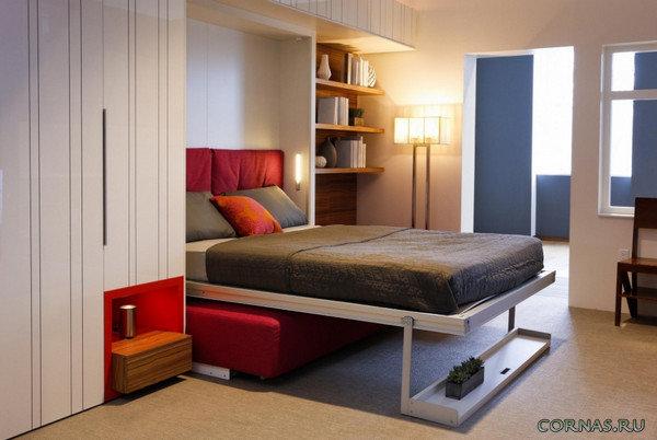 в квартире студии могут быть использованы раскладные диваны или шкаф