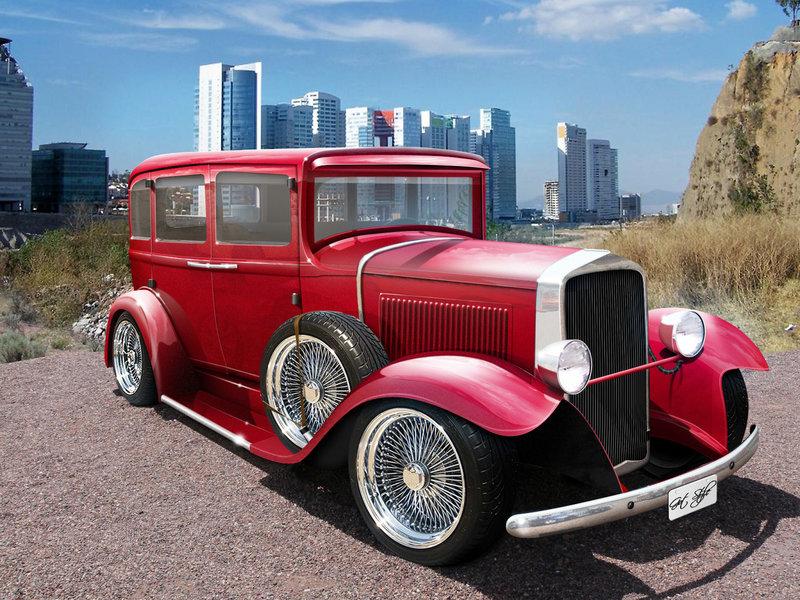 Автомобиль насищенно красного цвета 1932 года