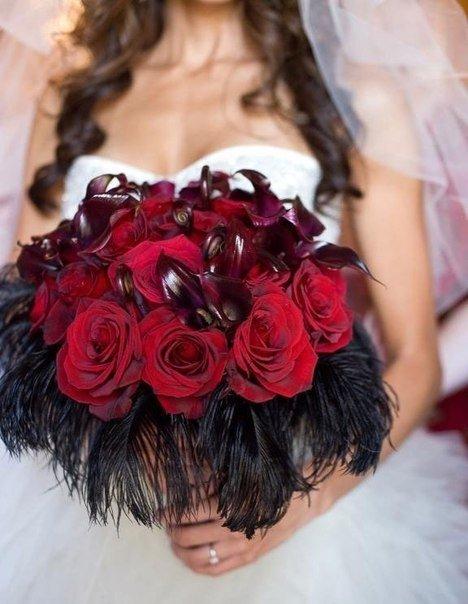 Свадебные букеты в бордовом цвете