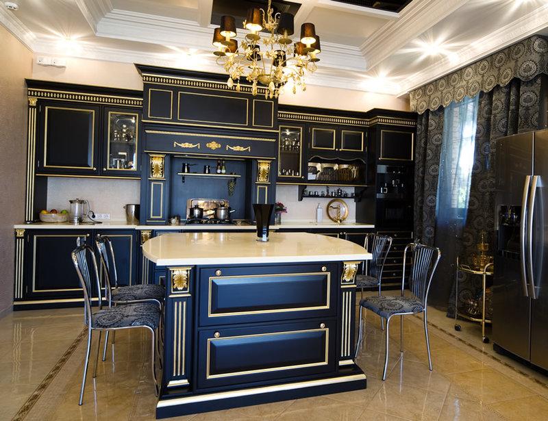 Сине-золотой статусный комплект мебели для кухни