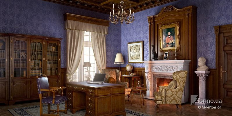 Гостинная с синими стенами