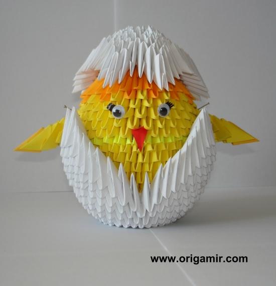 цыпленок модулей схема из оригами