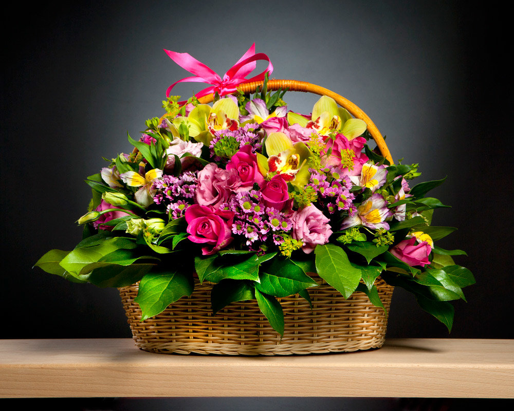 Открытки корзины цветов