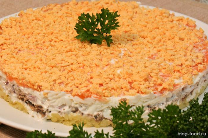 Салат мимоза с шпротами рецепт с фото