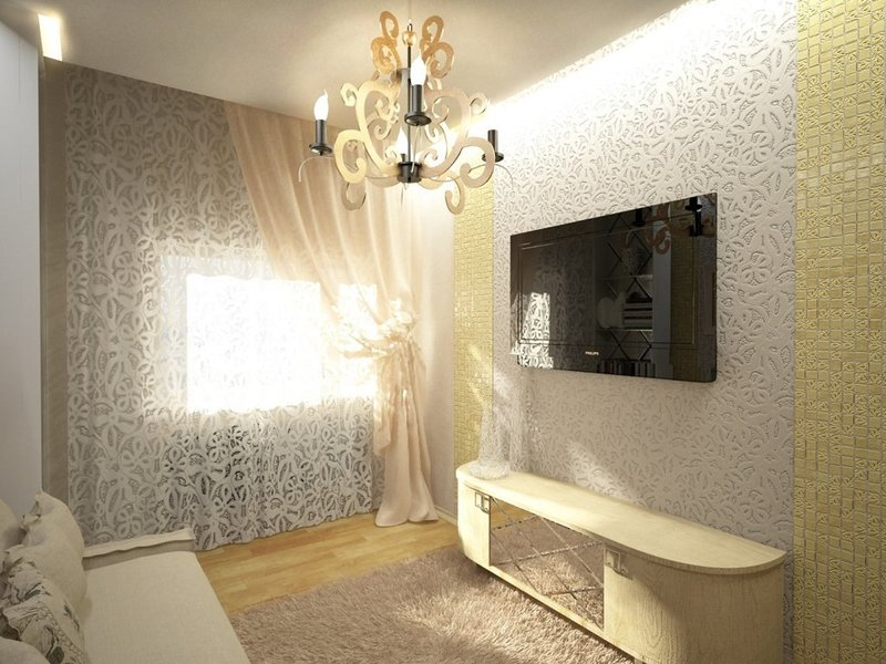 ремонт квартир фото дизайн зала хрущевки с комбинированными обоями #11