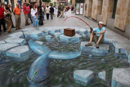3D рыбалка на асфальте