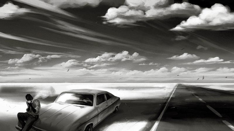 Черно-белые иллюстрации в стиле пинап и ретрофутуризм / Nicolas Delort (14)
