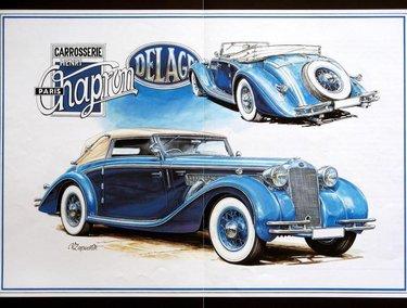 машина ретро синяя рисунок