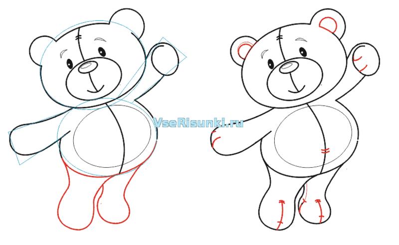 Как нарисовать медвежонка карандашом поэтапно