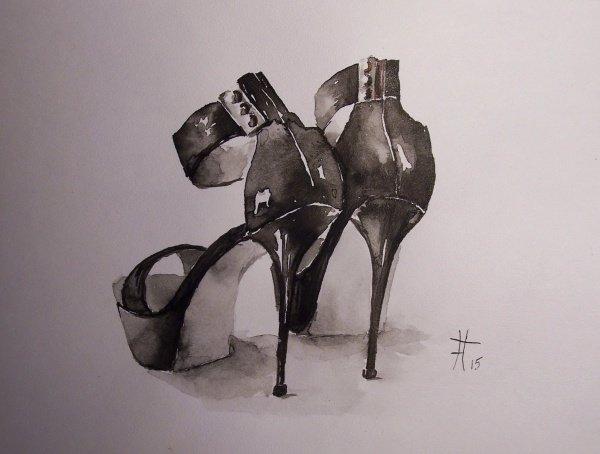 Рисунок тушью. Туфли