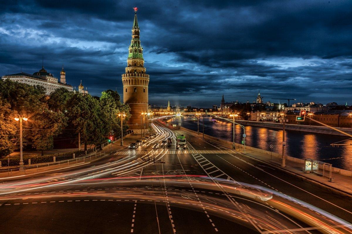 Картинки города москва ночью